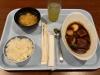 夕食のビーフシチュー(味噌汁のお椀を外した状態)
